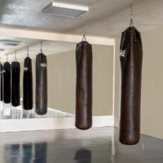 Grote wand spiegels in een boksschool